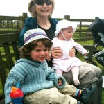 Aiden and Caitlin with Suse at the Seafood Cabin, Skipness